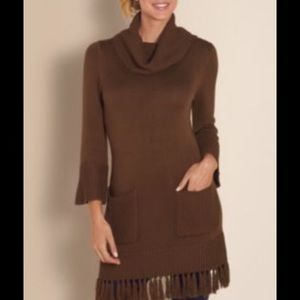 Soft Surroundings Brown Cowl Neck Tunic Sweater
